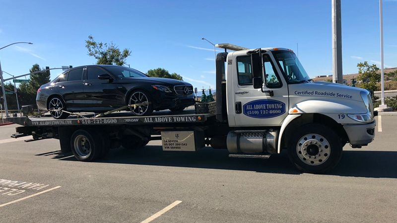 Image of Towing Truck with a black car5,ALL Above Towing LLC,Tow Truck Company