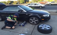 Image of car with a Flat Tire,ALL  Above Towing LLC ,Tow Truck Company San Francisco